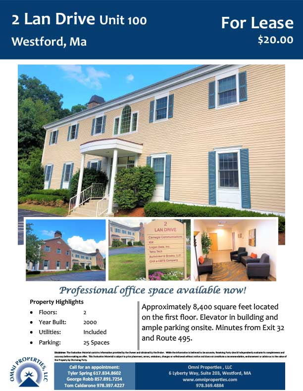 For Lease: 2 Lan Drive, Unit 100, Westford, MA - Omni Properties
